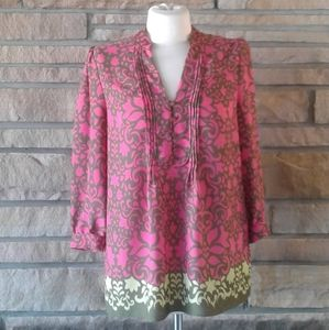 Banana Republic Pink & Green Print Blouse